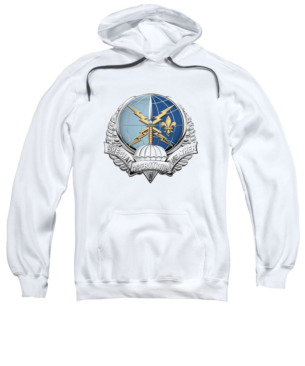 'military Insignia & Heraldry' Collection By Serge Averbukh Sweatshirt featuring the digital art Special Operations Weather Team - S O W T Badge Over White Leather by Serge Averbukh