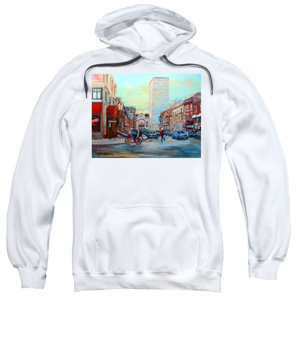Montreal Sweatshirt featuring the painting Speed Cyclist On Crescent by Carole Spandau