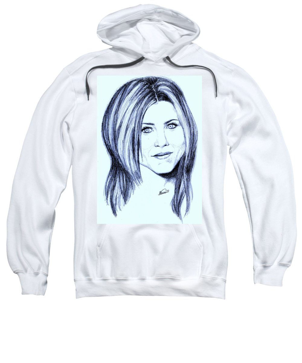 Portrait Sweatshirt featuring the drawing Speed Drawing Of Jennifer Aniston by Alban Dizdari