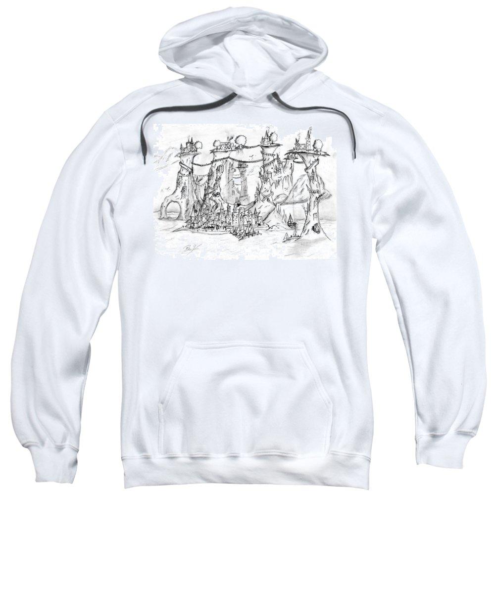 Spiral Sweatshirt featuring the drawing Spiral Islands by Ben's Pen