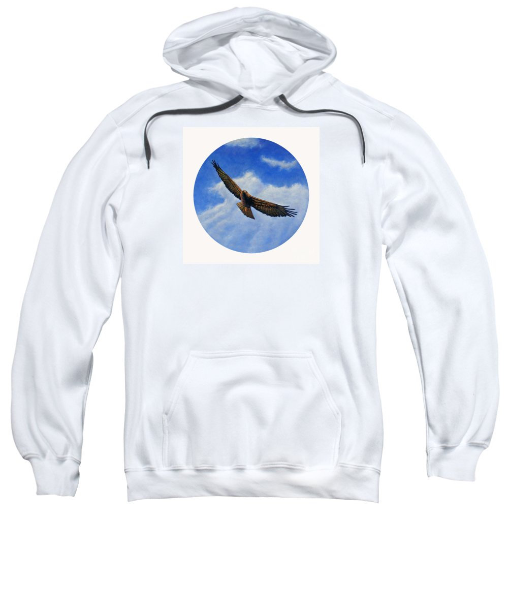 Hawk Sweatshirt featuring the painting Spirit In The Wind by Brian Commerford