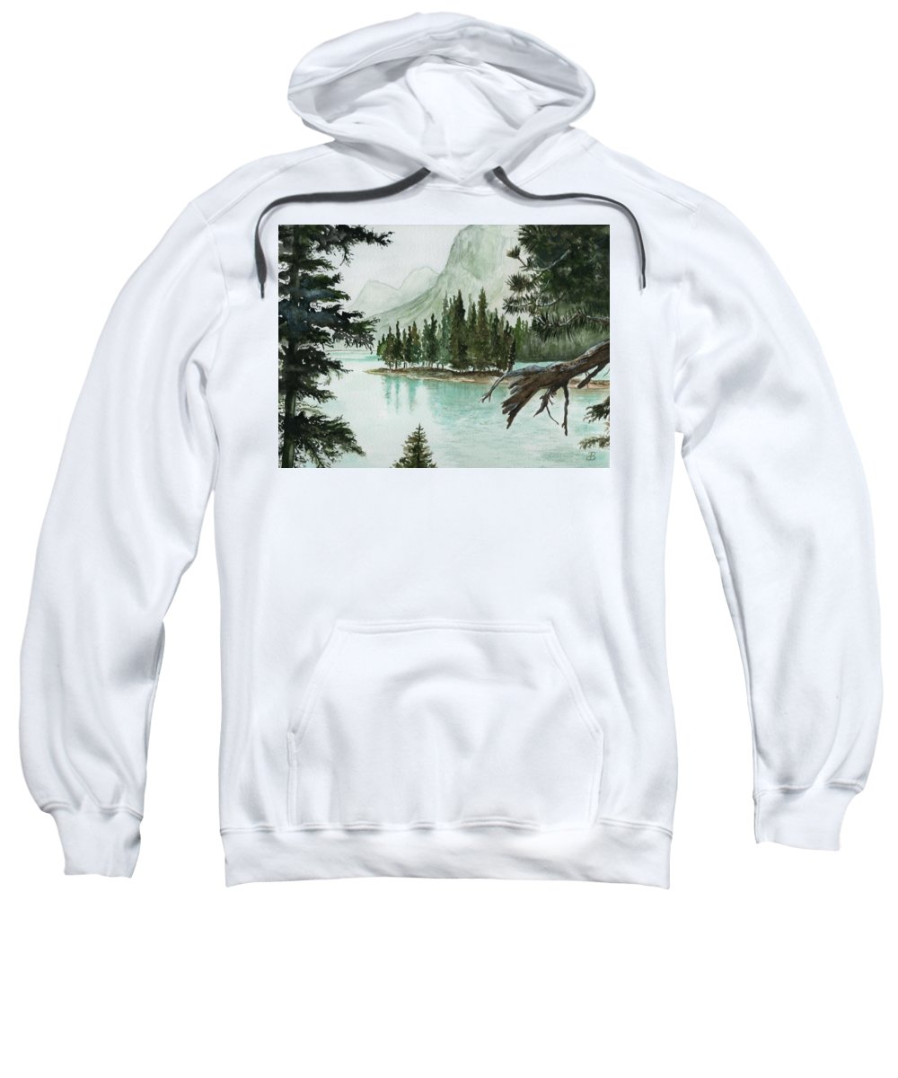 Landscape Sweatshirt featuring the painting Spirit Lake by Brenda Owen