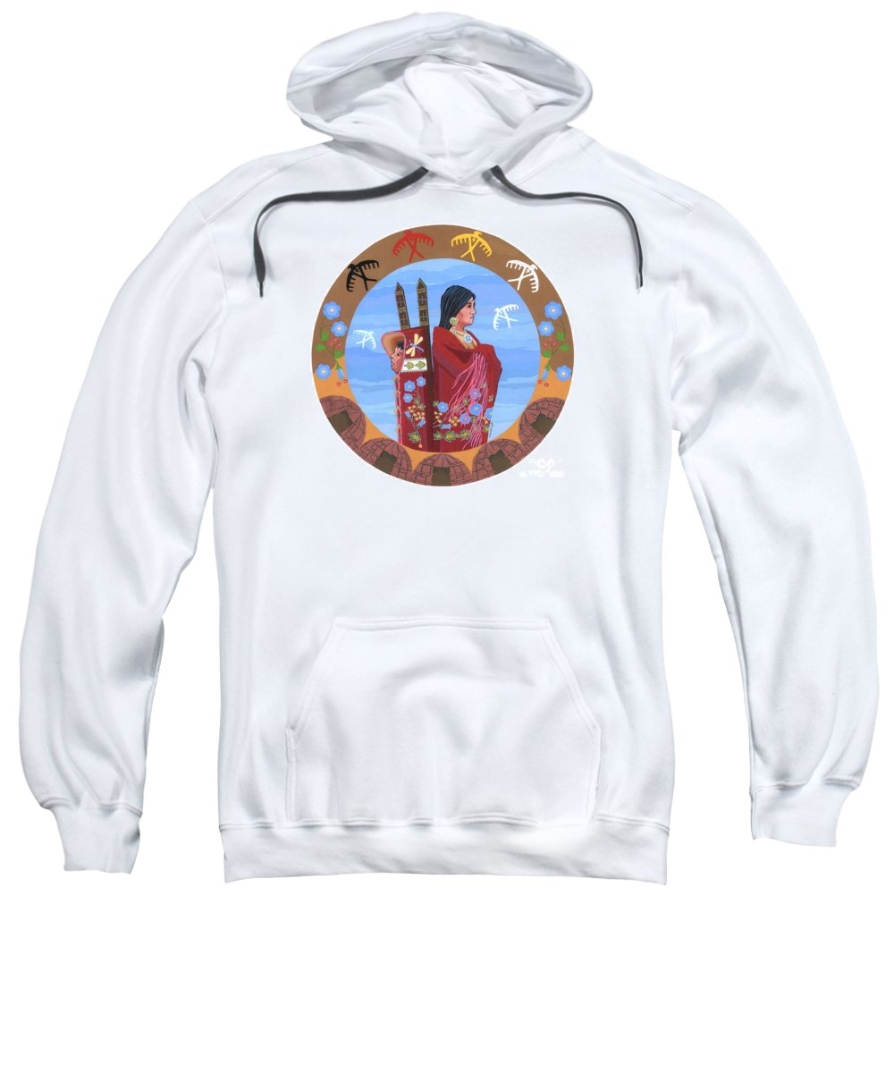 Native American Artwork Sweatshirt featuring the painting Spirit Of Eagles by Chholing Taha