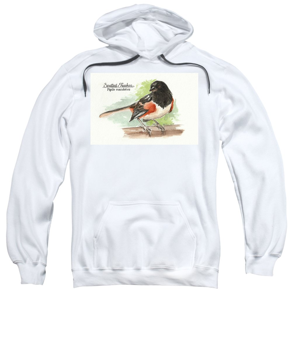 Birds Sweatshirt featuring the painting Spotted Towhee by Rowena Finn
