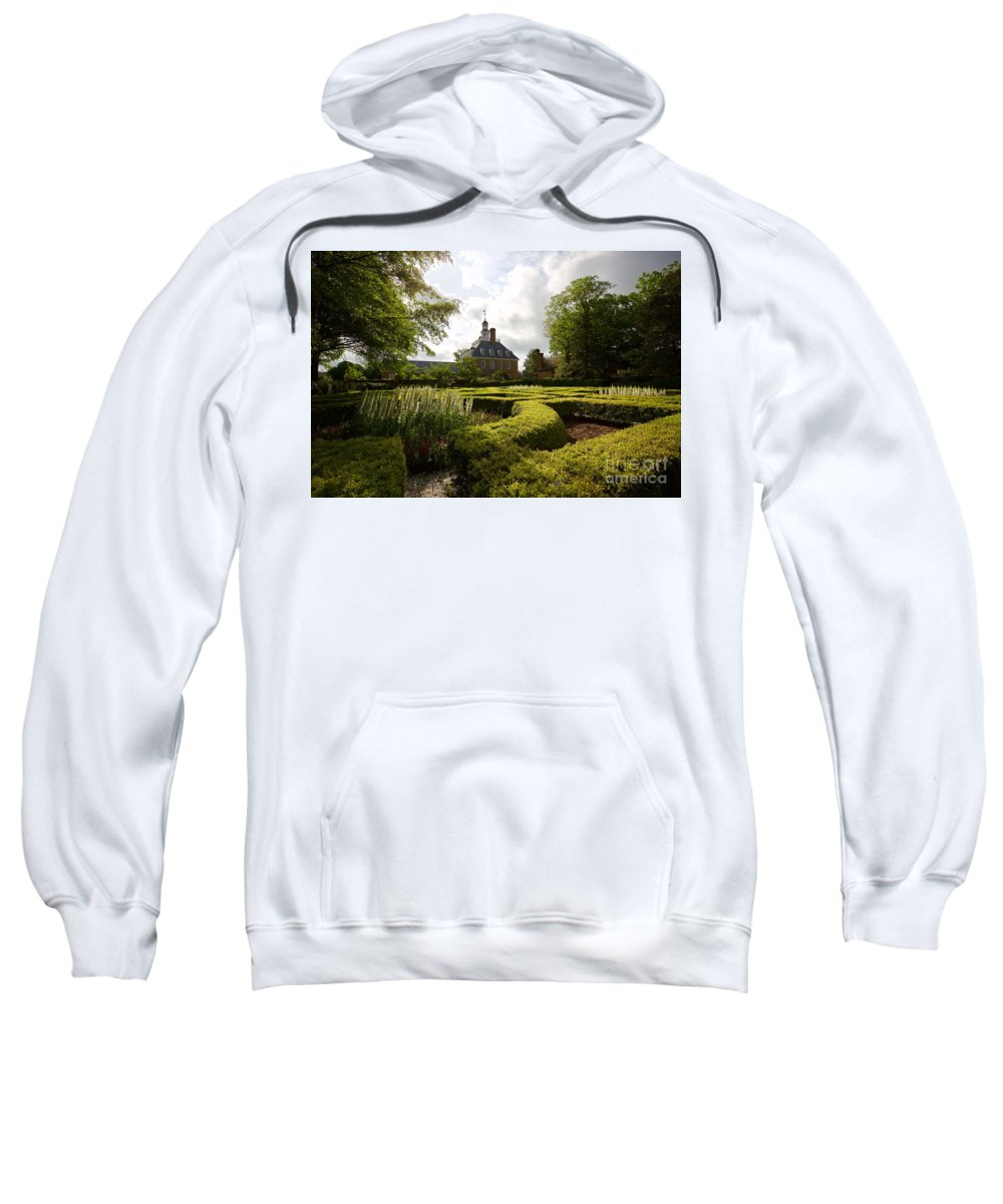 Colonial Williamsburg Sweatshirt featuring the photograph Spring At The Governor's Palace by Rachel Morrison