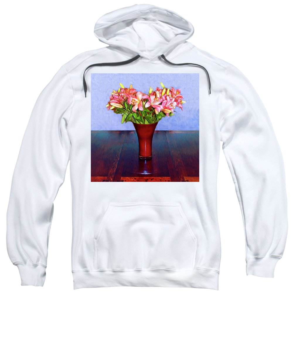 Flowers Sweatshirt featuring the mixed media Spring Bouquet by Dominic Piperata