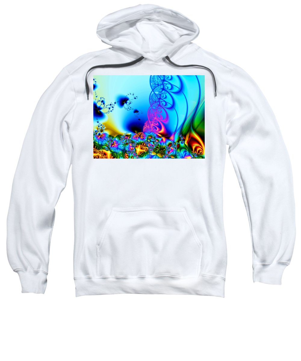 Fractal Sweatshirt featuring the digital art Spring Breezes by Claire Bull