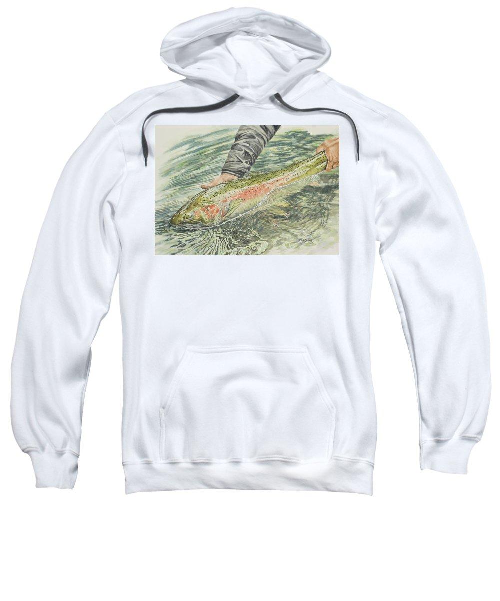 Steelhead Sweatshirt featuring the painting Spring Steel by Link Jackson