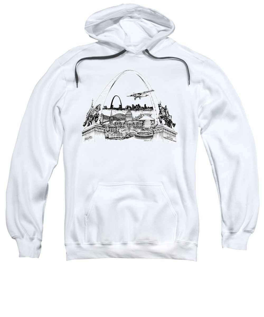City Drawing Sweatshirt featuring the drawing St. Louis Highlights Version 1 by Dennis Bivens