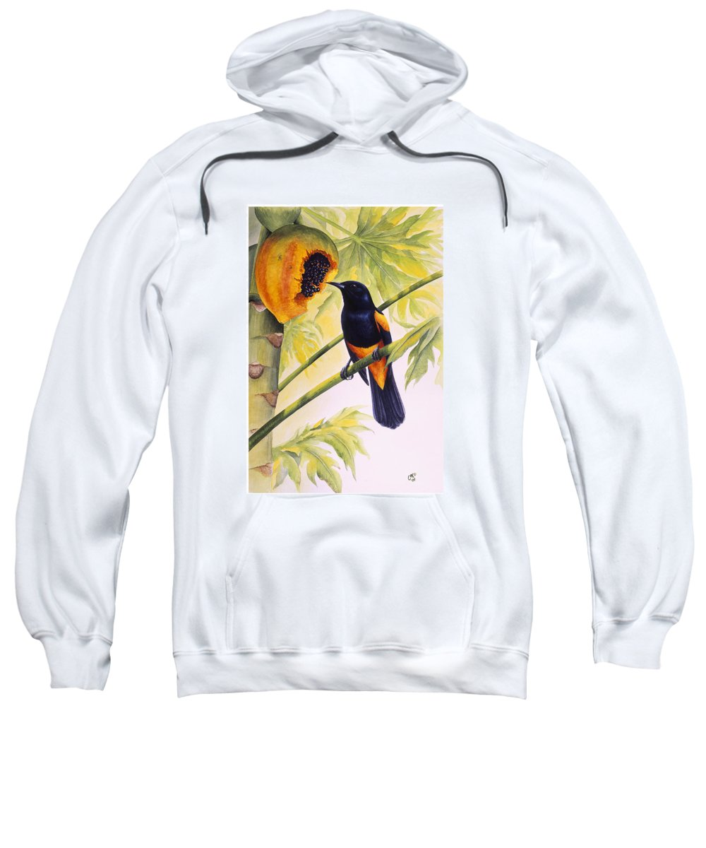 Chris Cox Sweatshirt featuring the painting St. Lucia Oriole and papaya by Christopher Cox