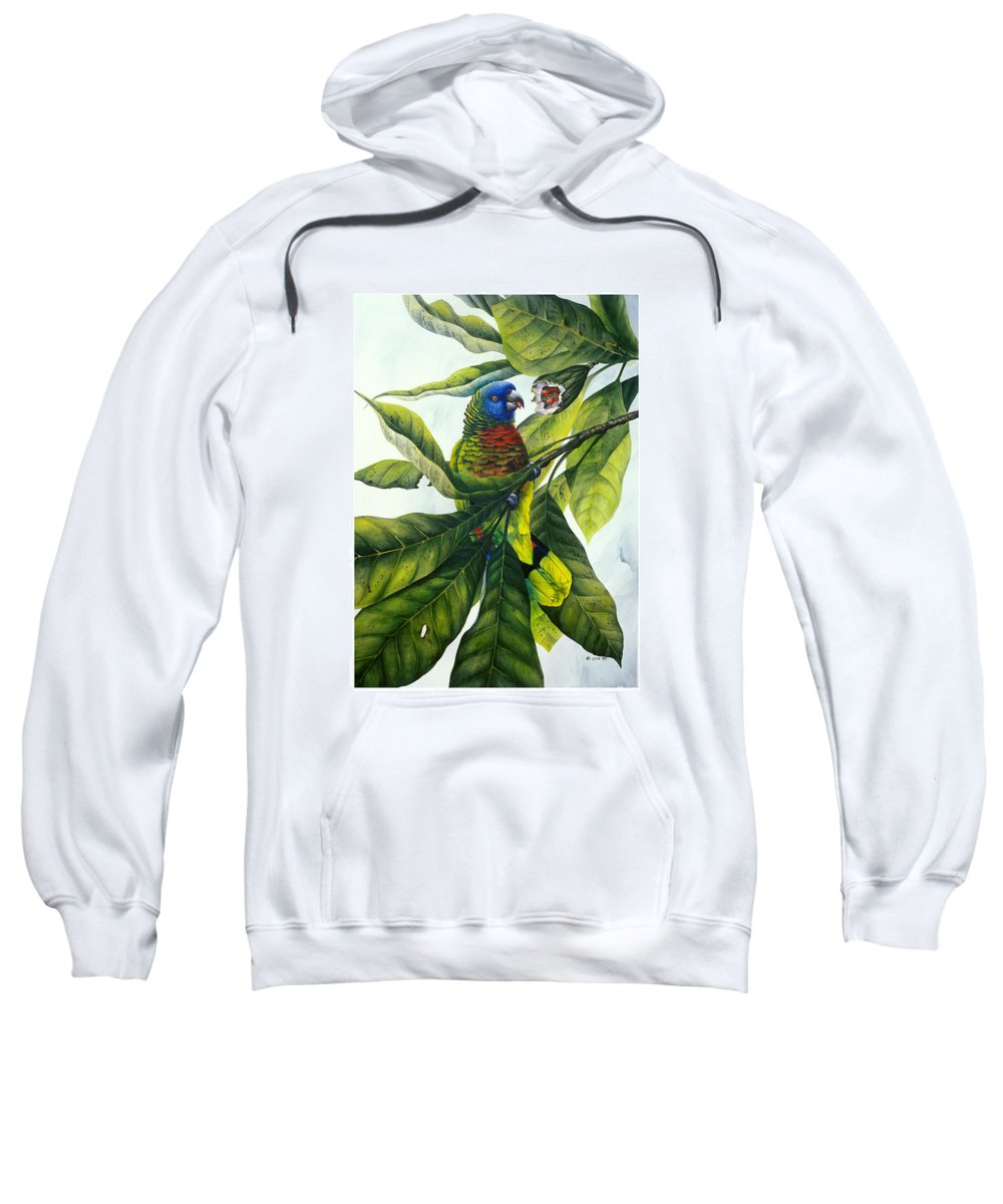 Chris Cox Sweatshirt featuring the painting St. Lucia parrot and fruit by Christopher Cox