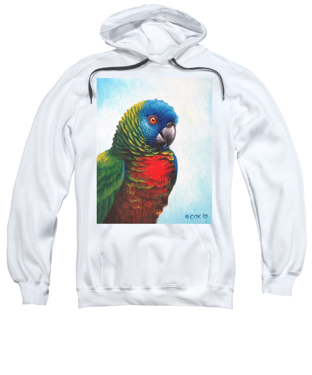 Chris Cox Sweatshirt featuring the painting St. Lucia Parrot by Christopher Cox
