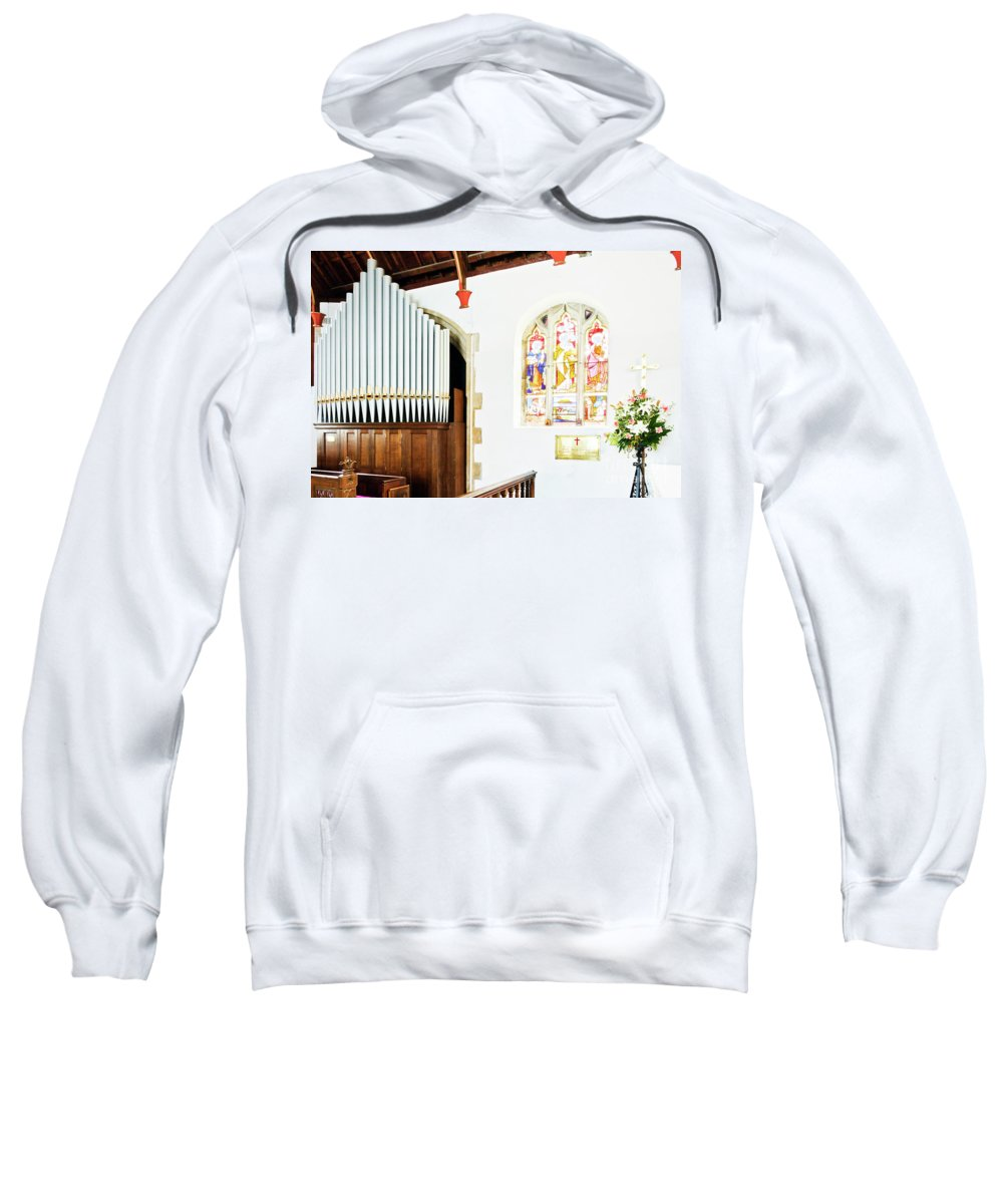 St Mylor Sweatshirt featuring the photograph St Mylor Organ Pipes by Terri Waters