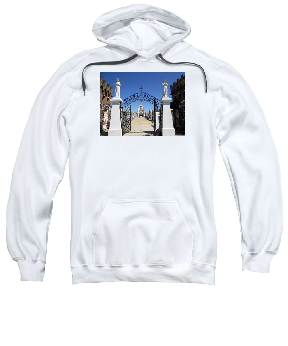 New Orleans Sweatshirt featuring the photograph St. Roch Gate #2 by Monte Landis