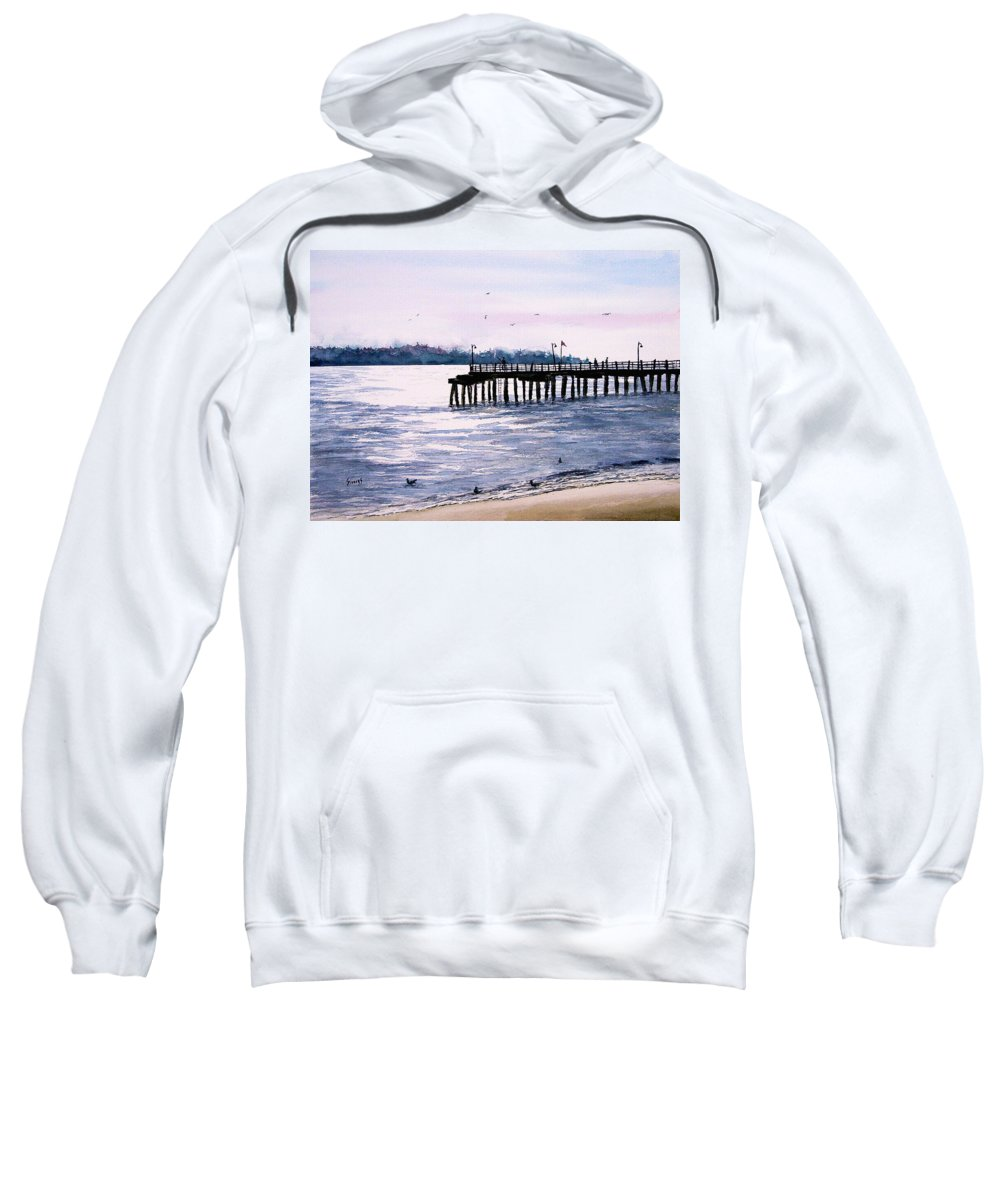 Fishing Sweatshirt featuring the painting St. Simons Island Fishing Pier by Sam Sidders