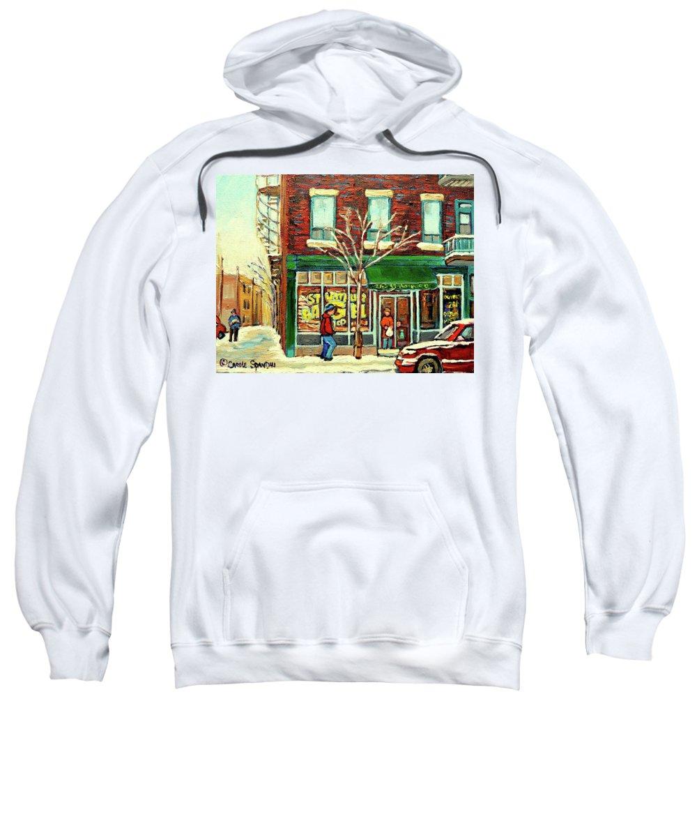 Montreal Sweatshirt featuring the painting St Viateur Bagel Shop Montreal by Carole Spandau