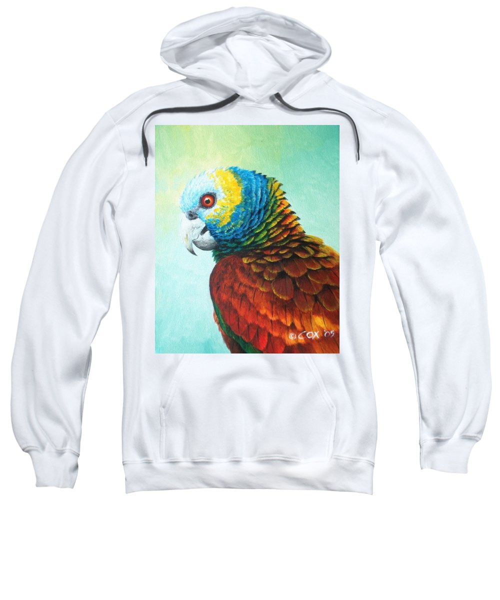 Chris Cox Sweatshirt featuring the painting St. Vincent Parrot by Christopher Cox