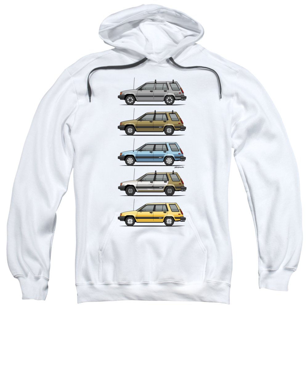 Car Sweatshirt featuring the digital art Stack Of Mark's Toyota Tercel Al25 Wagons by Monkey Crisis On Mars
