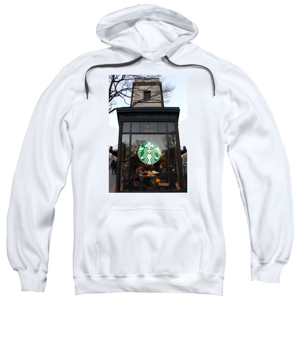 Starbucks Sweatshirt featuring the photograph Starbucks On Dupont Circle by Cora Wandel