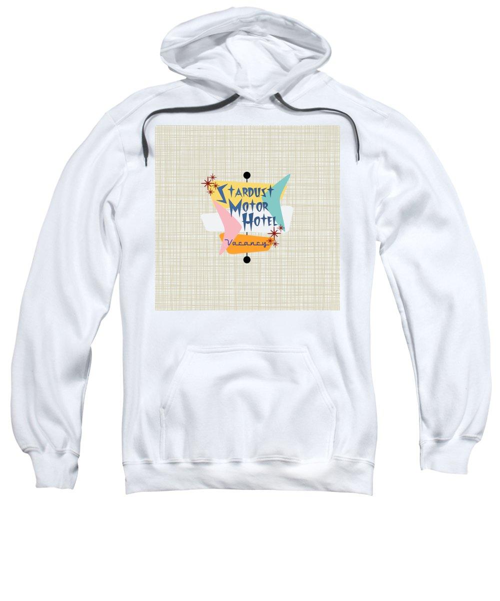 Makanahele Sweatshirt featuring the digital art Stardust Motor Hotel Bkgrnd by Lea Hollingsworth