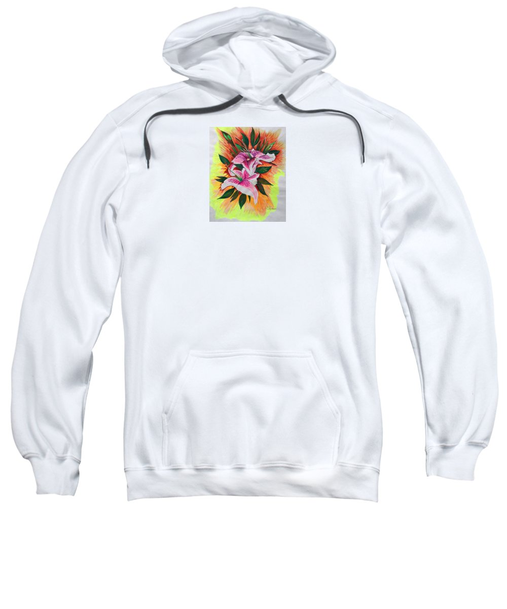 Flowers Sweatshirt featuring the drawing Stargazers by J R Seymour