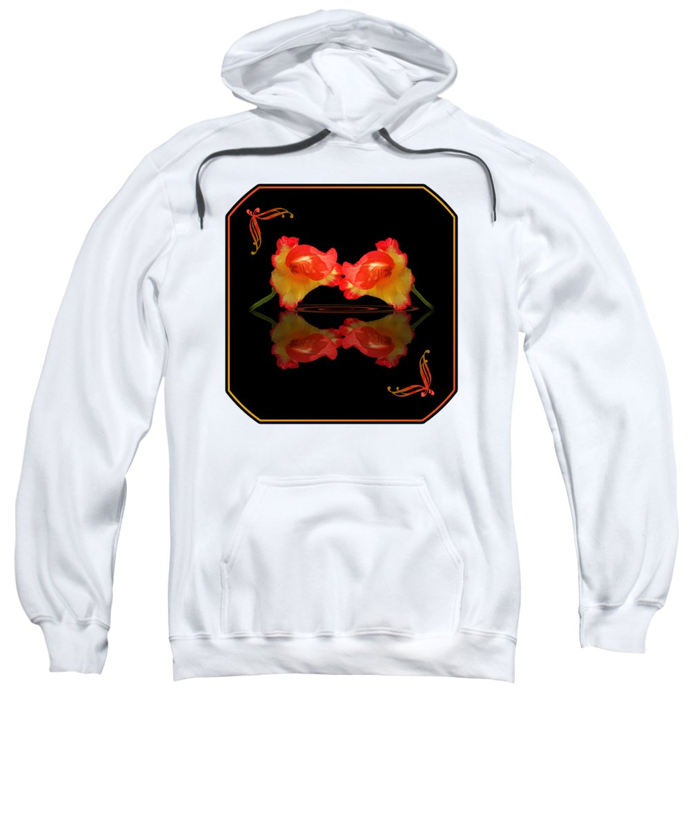 Red Flower Sweatshirt featuring the photograph Steamy Hot Lips by Gill Billington