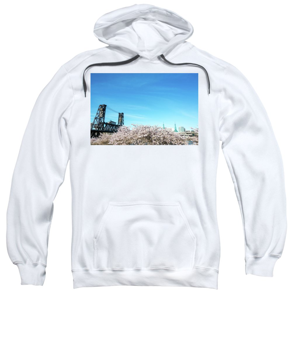Portland Sweatshirt featuring the photograph Steel Bridge And Cherry Blossoms by Jess Kraft
