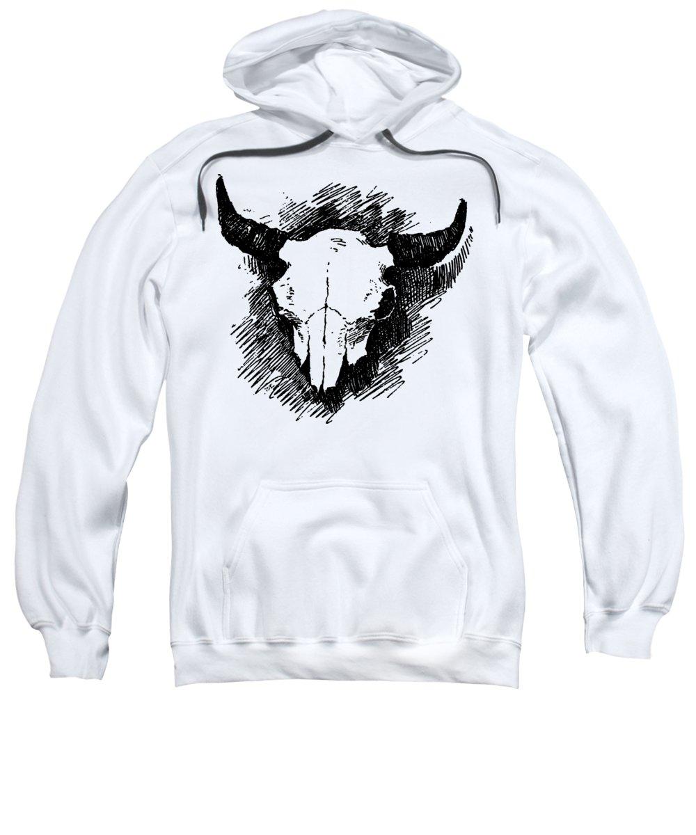 Tee Sweatshirt featuring the digital art Steer Skull Tee by Edward Fielding
