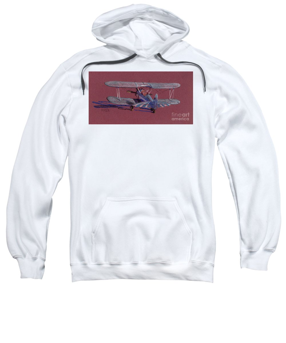 Steerman Biplane Sweatshirt featuring the drawing Steerman Biplane by Donald Maier