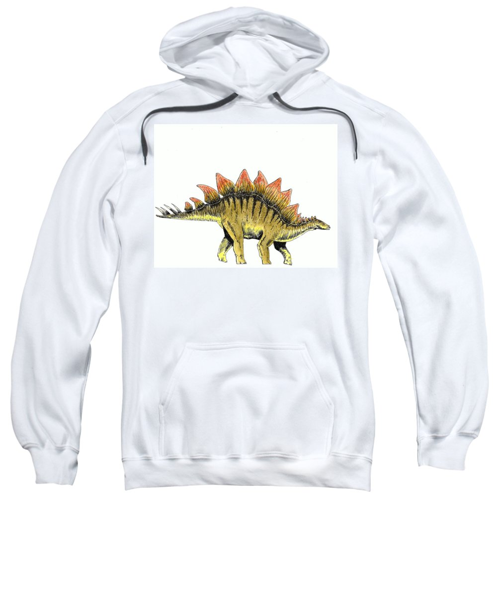Dinosaur Sweatshirt featuring the painting Stegosaurus by Michael Vigliotti