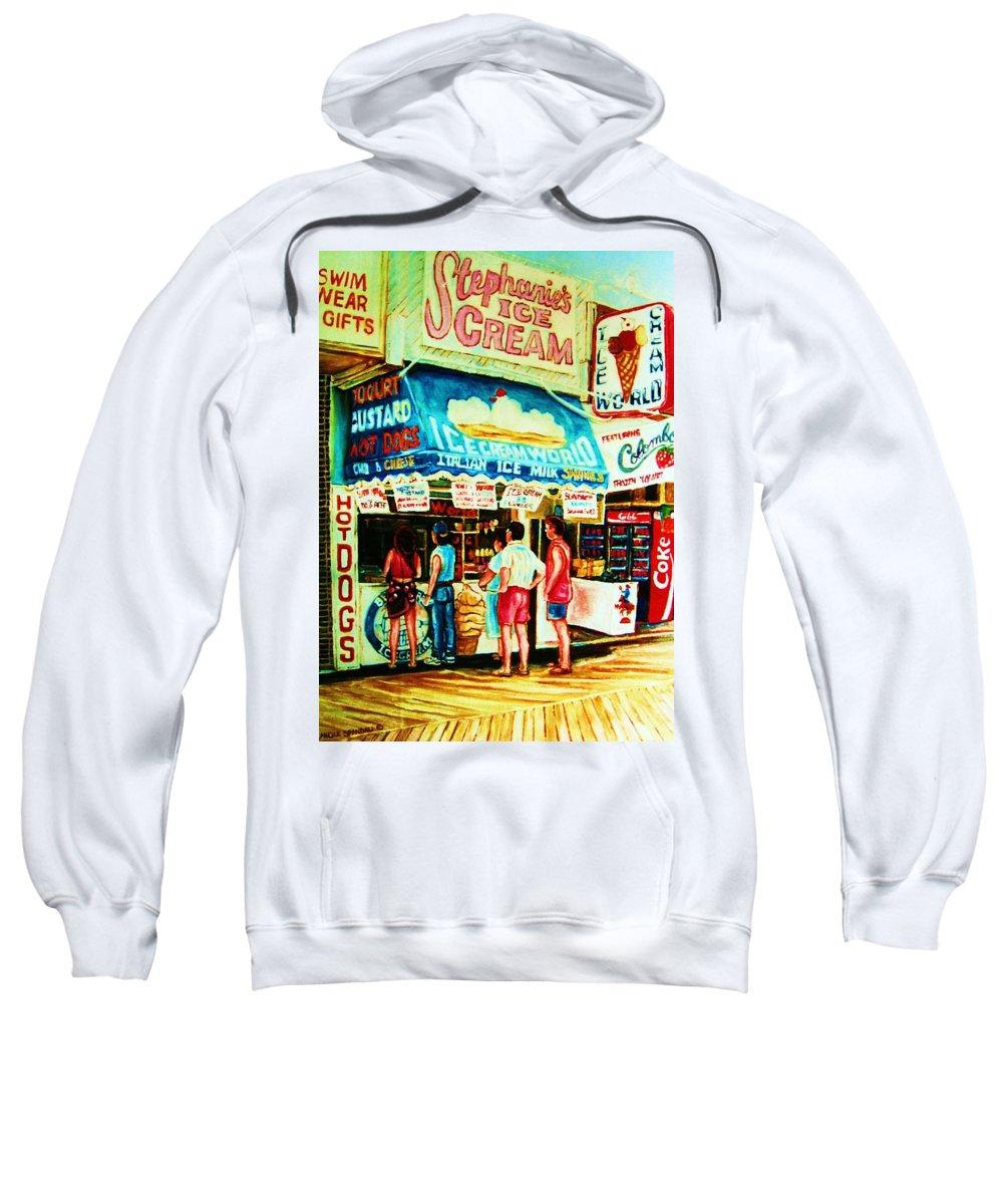 Children Sweatshirt featuring the painting Stephanies Icecream Stand by Carole Spandau