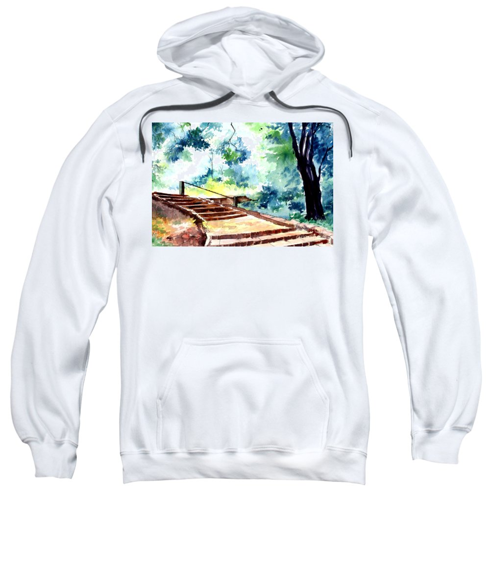 Landscape Sweatshirt featuring the painting Steps To Eternity by Anil Nene