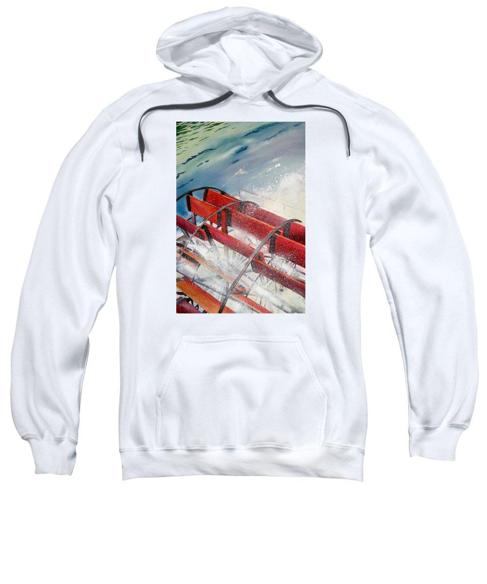 Paddlewheeler Sweatshirt featuring the painting Sternwheeler Splash by Karen Stark