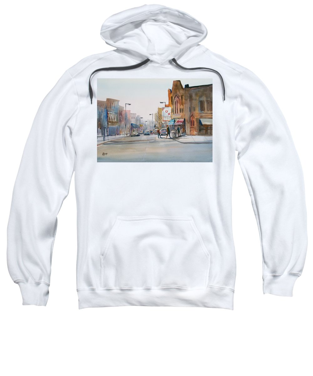 Watercolor Sweatshirt featuring the painting Steven's Point - Downtown by Ryan Radke