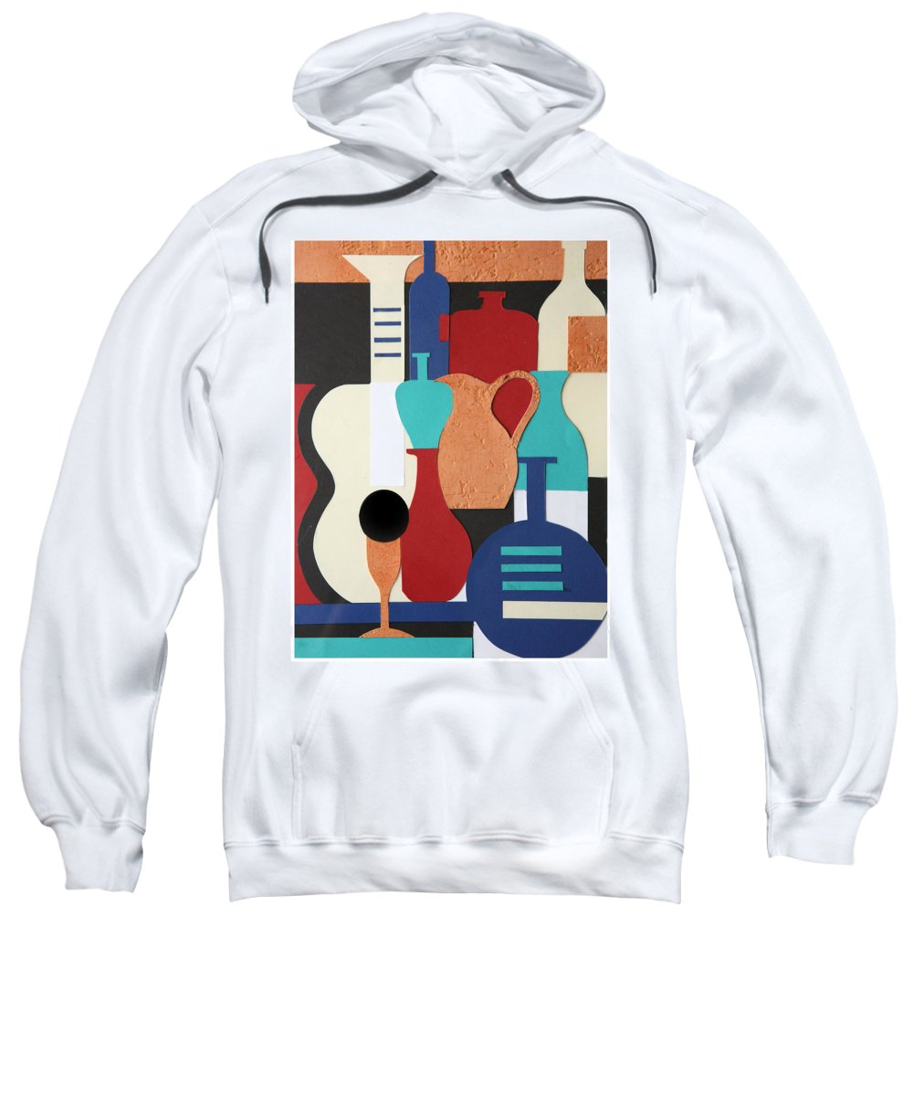 Still Life Sweatshirt featuring the mixed media Still Life Paper Collage Of Wine Glasses Bottles And Musical Instruments by Mal Bray