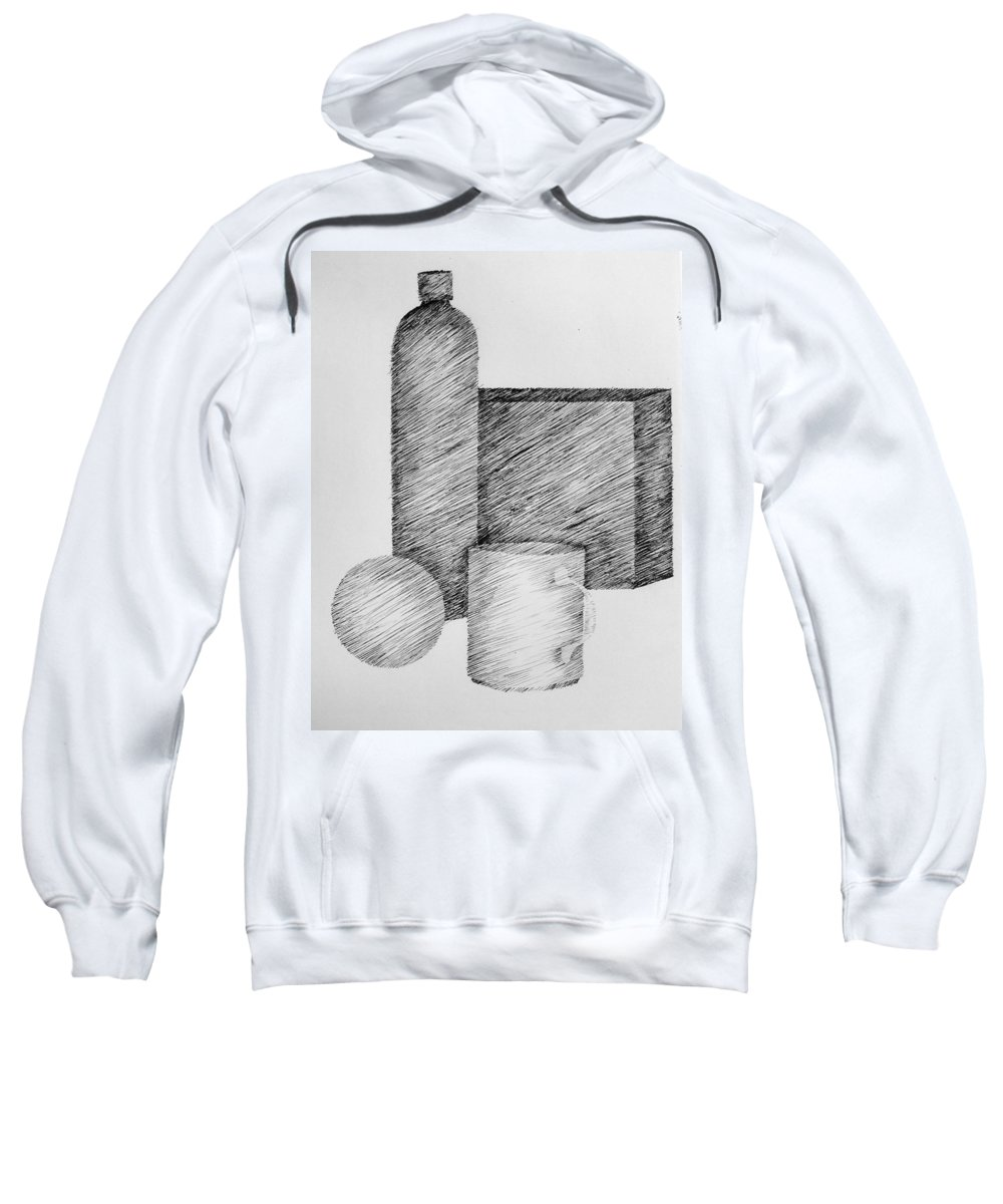 Still Life Sweatshirt featuring the drawing Still Life With Cup Bottle And Shapes by Michelle Calkins