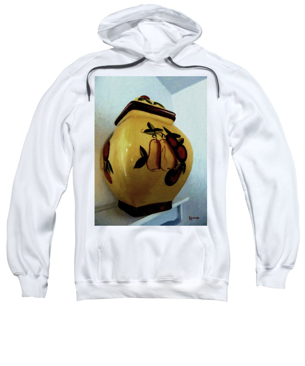 Jar Sweatshirt featuring the painting Still Life With Fruited Pottery by RC DeWinter