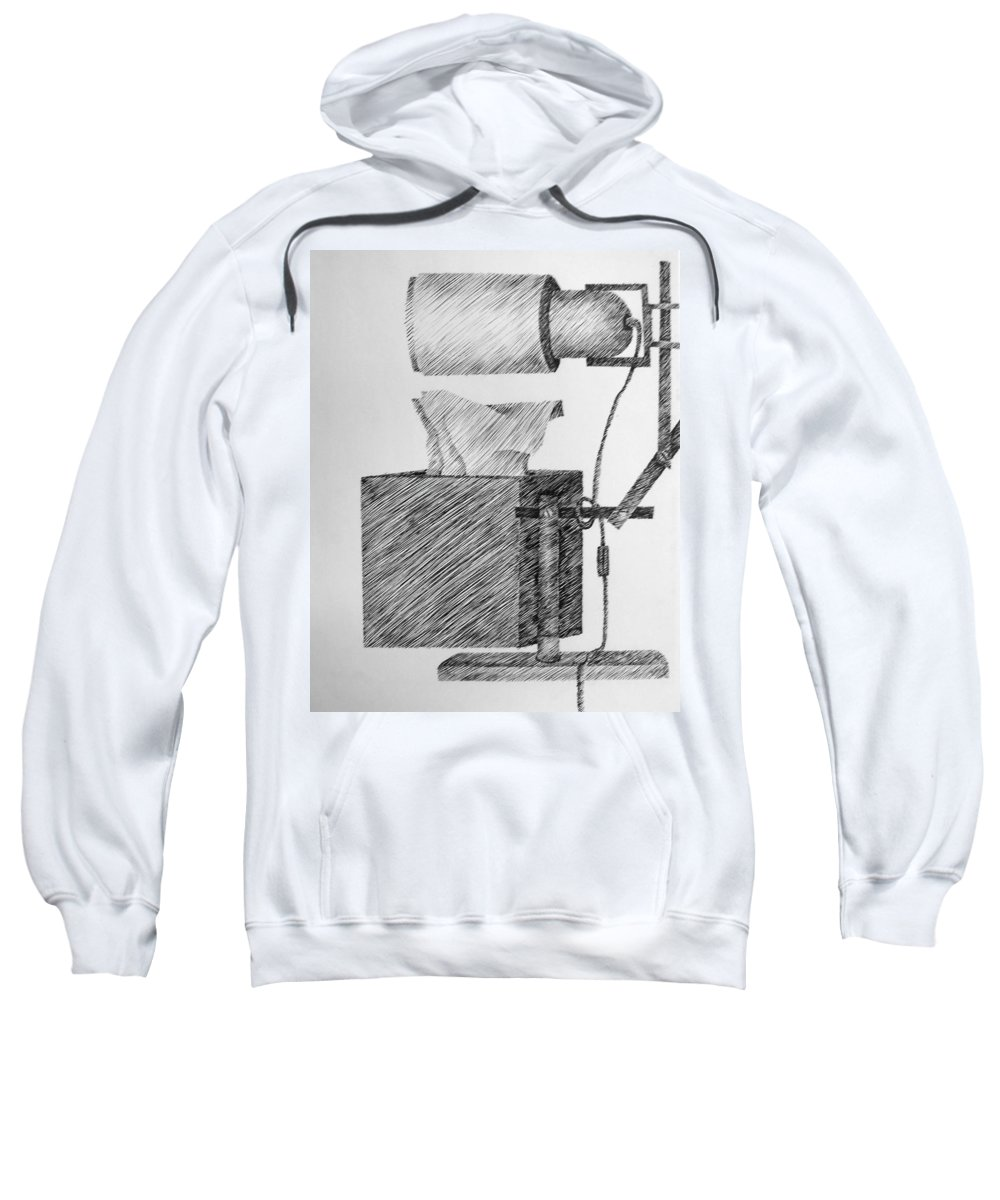 Still Life Sweatshirt featuring the drawing Still Life With Lamp And Tissues by Michelle Calkins