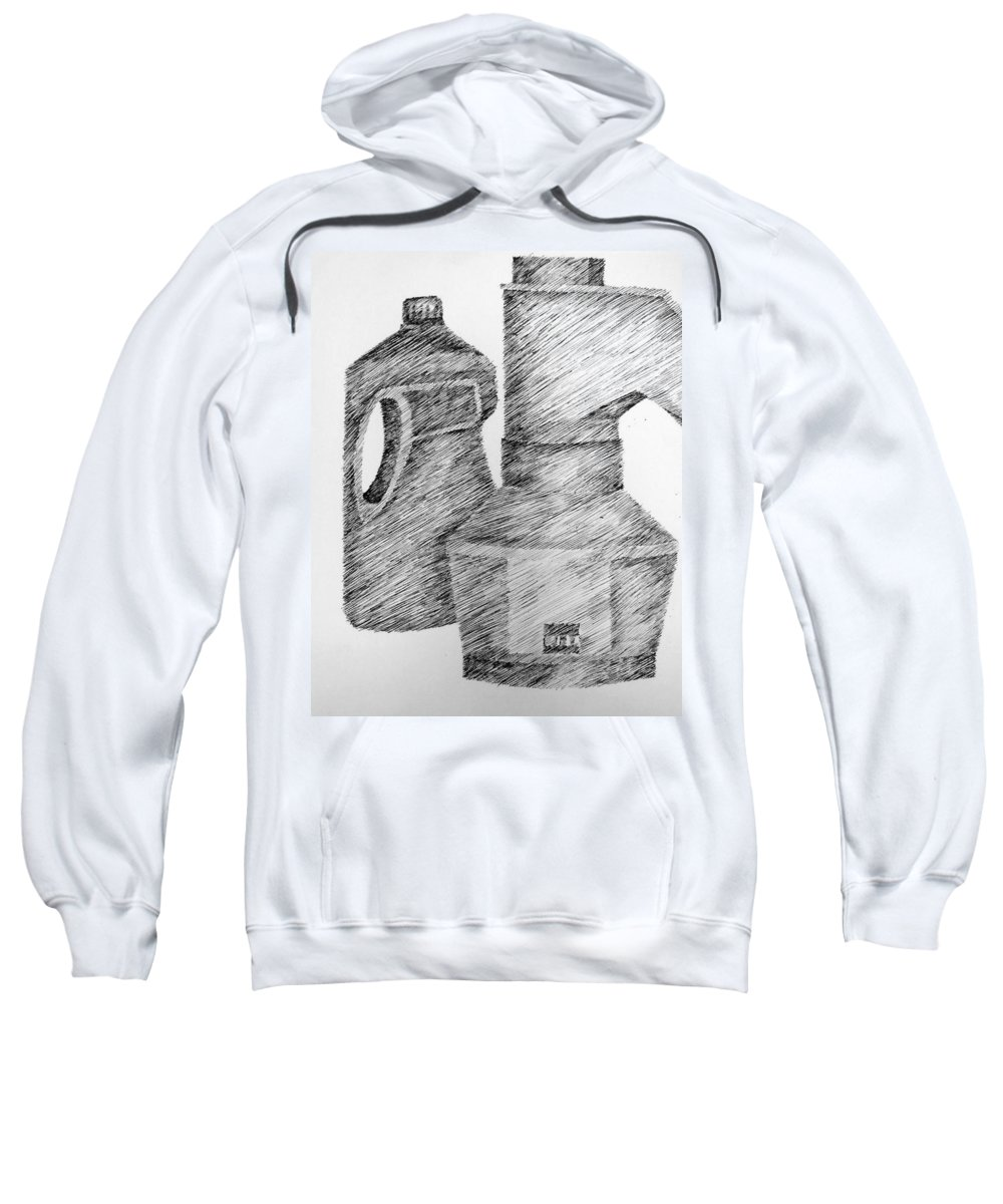 Still Life Sweatshirt featuring the drawing Still Life With Popcorn Maker And Laundry Soap Bottle by Michelle Calkins