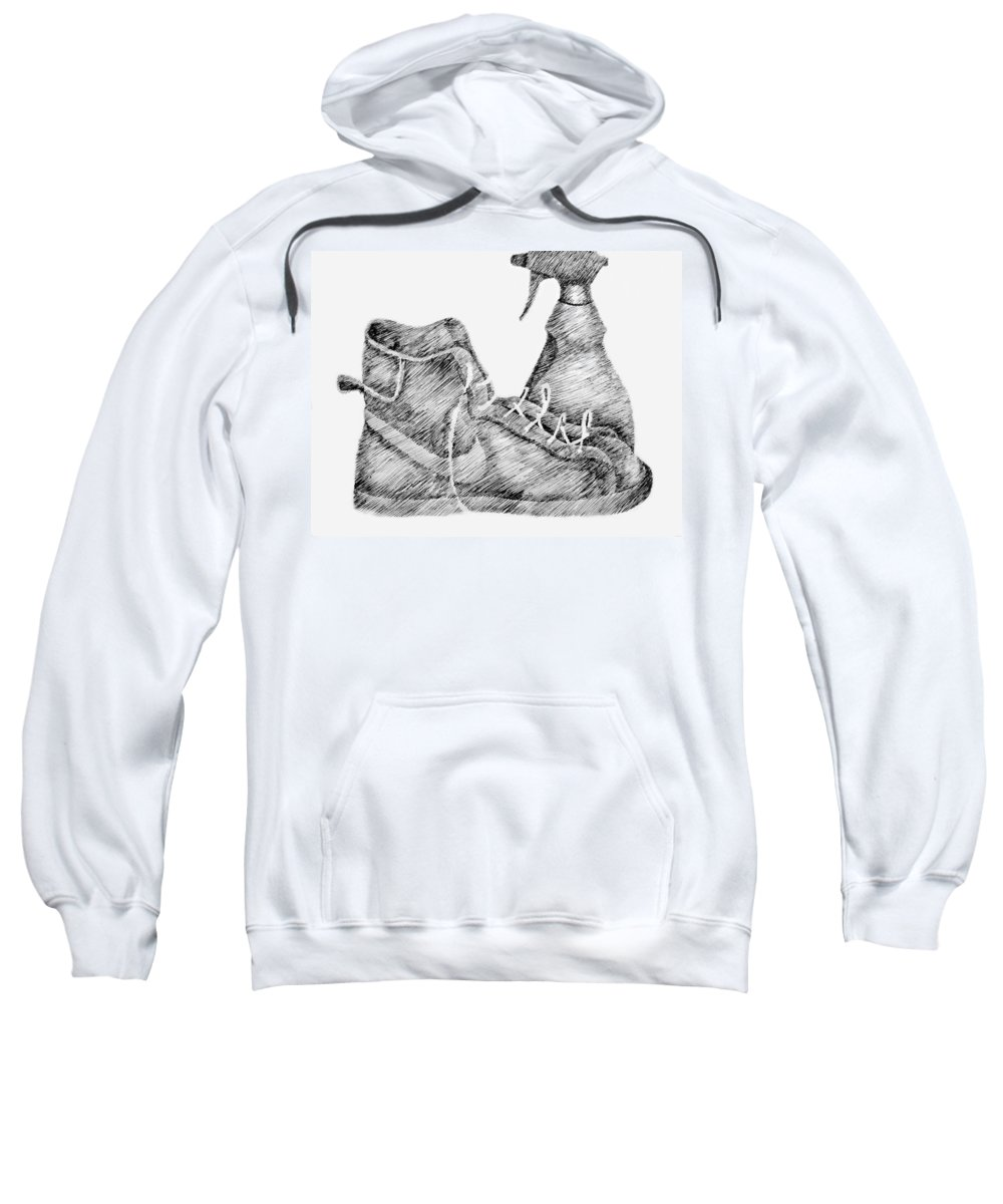 Pen Sweatshirt featuring the drawing Still Life With Shoe And Spray Bottle by Michelle Calkins