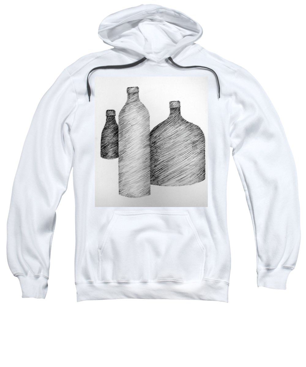 Still Life Sweatshirt featuring the drawing Still Life With Three Bottles by Michelle Calkins