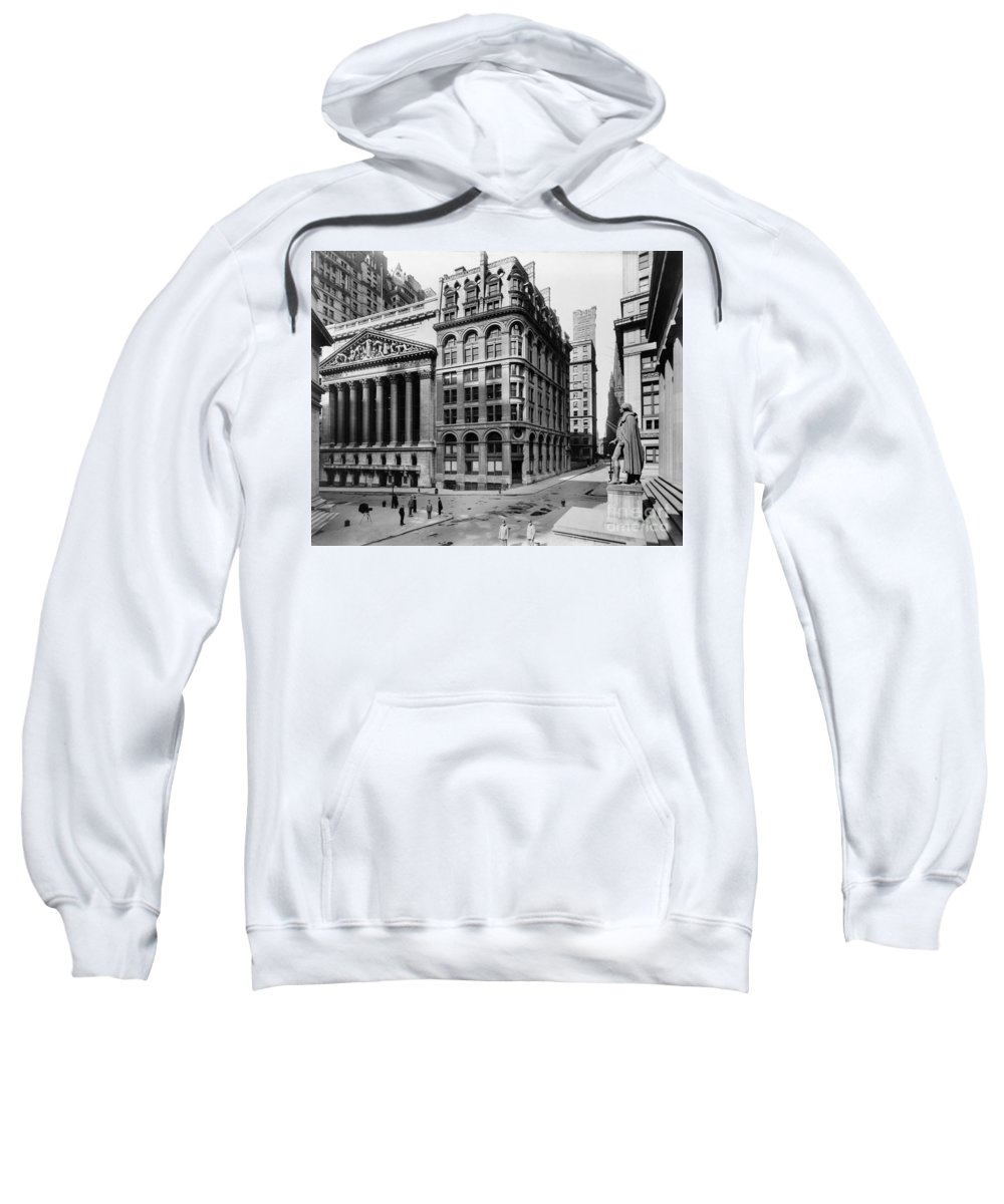 1908 Sweatshirt featuring the photograph Stock Exchange, C1908 by Granger