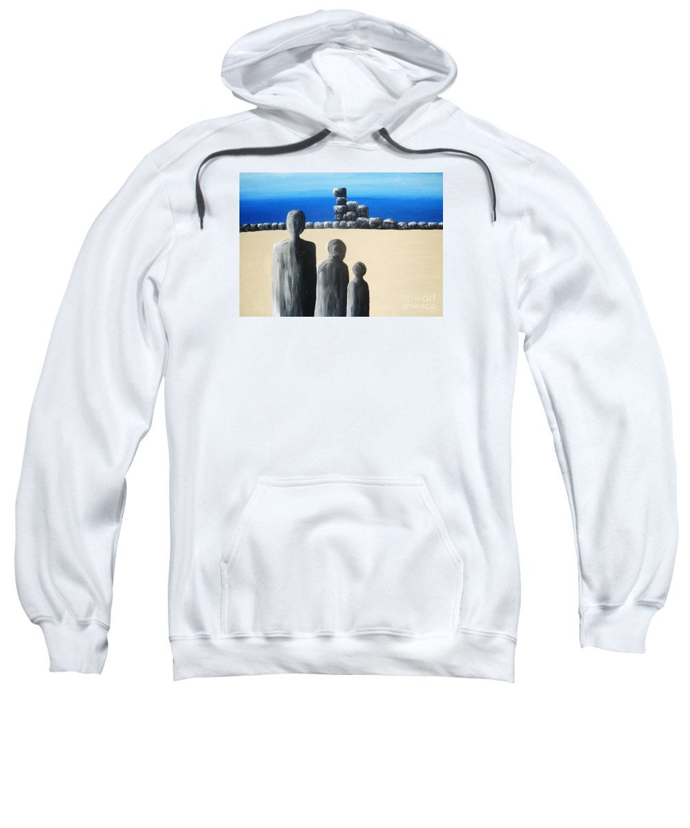 Stones Sweatshirt featuring the painting Stone Horizon by Reb Frost