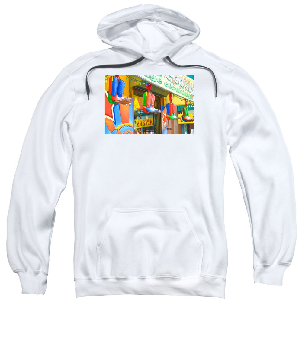 Boots Sweatshirt featuring the painting Store In New York City 1 by Jeelan Clark