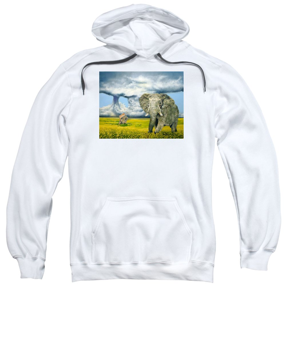 Elephant Sweatshirt featuring the painting Storm Field by Gordon Behr