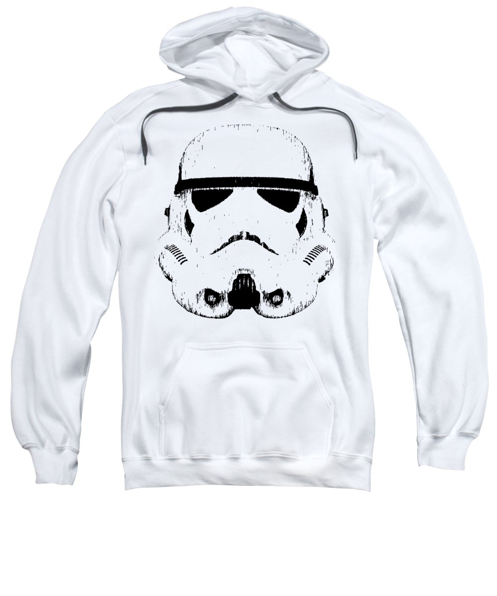 Star Wars Sweatshirt featuring the digital art Stormtrooper Helmet Star Wars Tee Black Ink by Edward Fielding