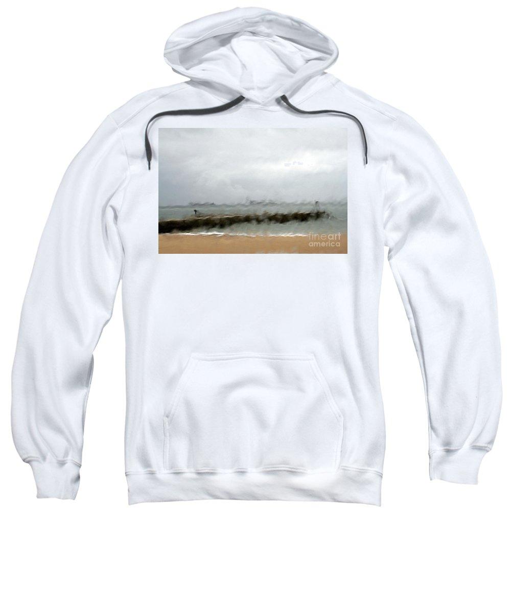 Storm Sweatshirt featuring the photograph Stormy Seas by Vladi Alon