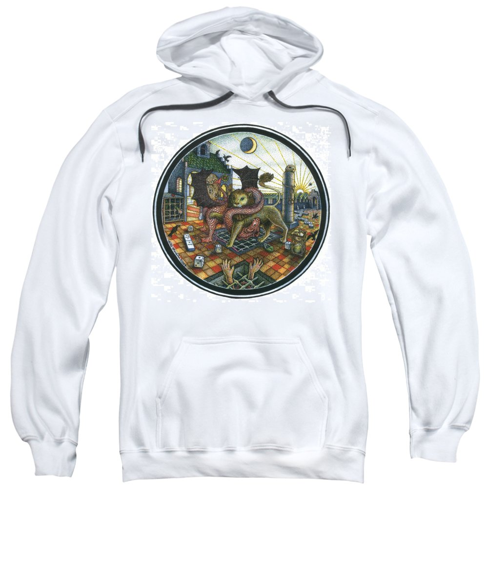 Dragon Sweatshirt featuring the drawing Strange Reverie by Bill Perkins