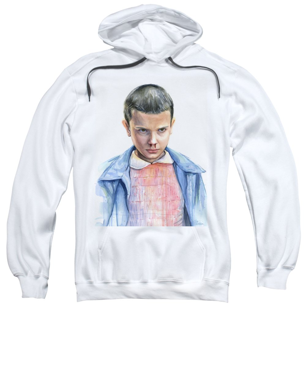 Strager Things Sweatshirt featuring the painting Stranger Things Eleven Portrait by Olga Shvartsur