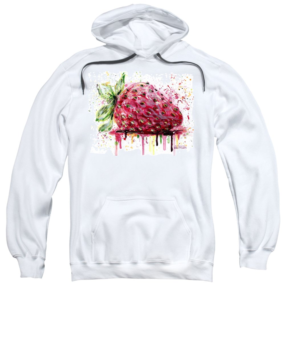 Strawberry Sweatshirt featuring the painting Strawberry 2 by Arleana Holtzmann